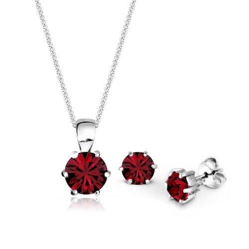 Elli Damen Schmuck Schmuckset Halskette + Ohrringe Basic Silber 925 Swarovski® Kristalle Rot Länge 45 cm