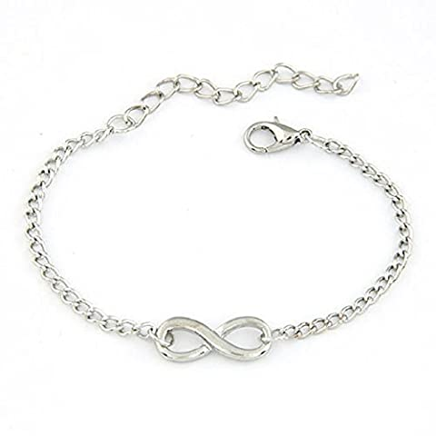 Malloom® New Women Men Special Handmade Gift Charm 8 Shape Jewelry Infinity Bracelet (silver)