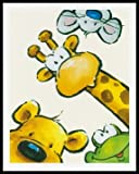 Bild mit Rahmen Jean Paul Courtsey - Funny Friends III - Alimunium schwarz glänzend, 40 x 50cm - Premiumqualität - Kinderwelten, Comic, Tiere, Giraffe, Bär, Maus, Frosch, Kinderzimmer, Kindergarten, Hort - MADE IN GERMANY - ART-GALERIE-SHOPde