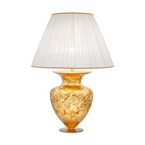 Kolarz Premium Tischleuchte Gold Vase Faltenschirm Trichter-Schirm E27 Nachttischleuchte...