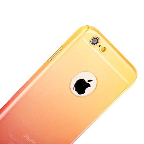 Coque iPhone 7, iPhone 8Coque, Yoota fin coloré Coque [protection d'écran en verre trempé] [] PC rigide Translucide anti-rayures Coque de protection intégrale 360 Yellow red