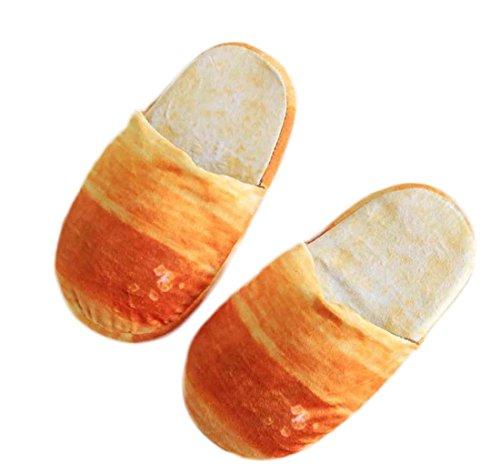 Scarpe casa creativa Inverno personalità Funny Simulazione pane Soft Bottom Scarpe Comode Camera Pantofole Coppia Beige