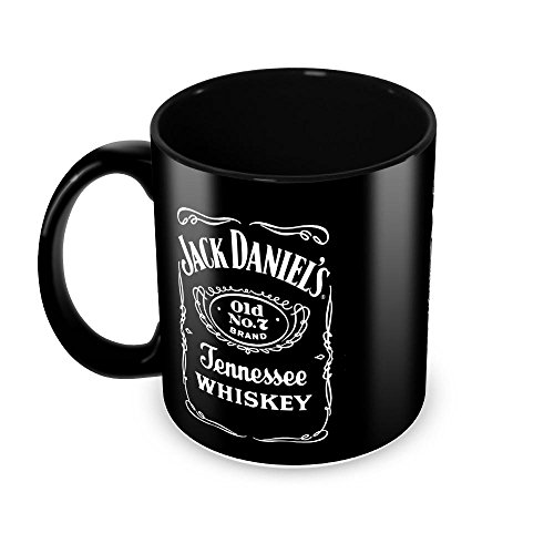 Tuelip Jack Daniel's Classic Style Full Black Printed Ceramic Tea and Coffee Ceramic Mug, 350ml, Black