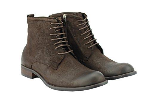 Cire Véritable pour homme en cuir noir marron haute Top en dentelle de style militaire jusquet zip bottes Marron