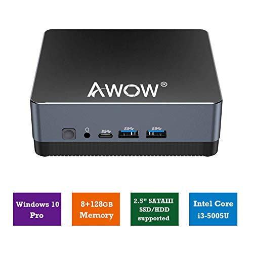 AWOW Mini PC Windows 10 Pro, Micro Mini Desktop Computer 8GB DDR 128GB SSD Intel Core i3 5005U 2.3GHz 4K UHD Graphics 2.4G+5G Dual WiFi, Dual HDMI, Gigabit Ethernet, Type-C - Mini-pc Mit I3 Windows