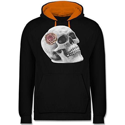 Rockabilly - Totenkopf Rose Vintage Skull - Kontrast Hoodie Schwarz/Orange