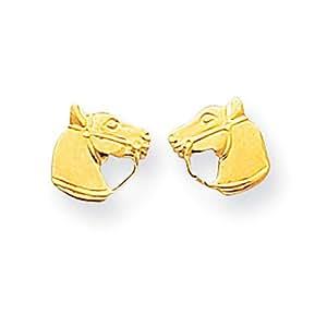 14k Gelb Gold MADI K. Poliert Pferd Kopf Bereitstellen Ohrringe