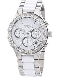 DKNY NY8181 - Reloj analógico de cuarzo para mujer con correa de acero inoxidable, color blanco