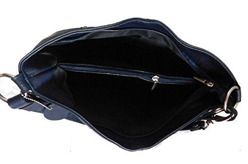 Borsa Donna a spalla in vera pelle made in Italy BC214 Blu scuro