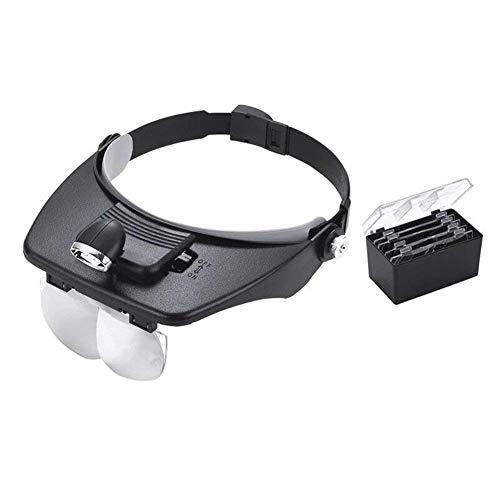 Fangfang GAO magnifier Head-Mounted Lupe, LED-Leuchten können für Freisprechkomfort eingestellt Werden 1.2X 1.8X 2.5X 3.5X HD optische Gläser Objektiv Clock Repair Gravur -