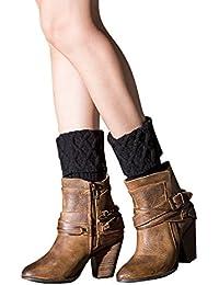 TININNA Invierno Cálido Vintage puños de punto calentadores de la pierna de punto Crochet, térmica para…