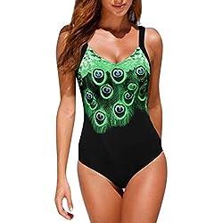 KaloryWee Maillot De Bain 1 Pièce Femme Pas Cher Sexy Multicolore Bretelle Combinaison Adjustable Bodycon Collant Maillot Bikini Push-up Natation Chic Imprimé Fleuri Sable De Plage