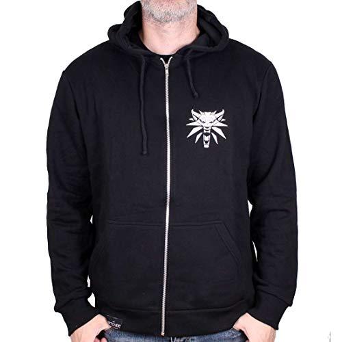 Witcher Acero chaqueta con capucha y Silver Medallion lobo negro espadas - L