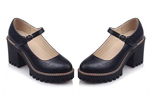 VogueZone009 Femme Couleur Unie Pu Cuir Rond Boucle Chaussures Légeres Noir