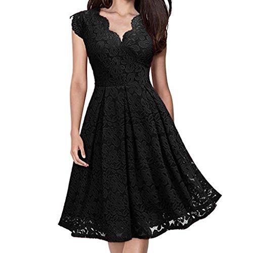 Lavendel-kleid-schuhe (TWIFER Damen Somemr Armelloses Kleid V-Ausschnitt Schulterfrei Spitze Abendkleid Brautkleid)