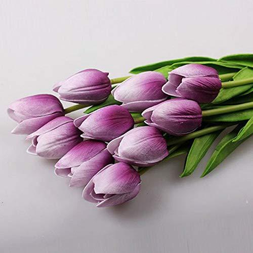 Lovefiower fiower 11pcs / lot tulipani fiori fiori artificiali bouquet reale home decor fiore matrimonio bianco fiore viola