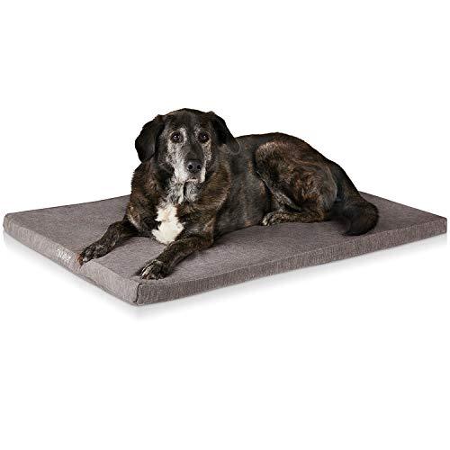 ONVAYA® Hundekissen orthopädisch aus Memory Foam | 95 Grad waschbar | grau | Größe S-XXL | Hundebett | Hundematratze | Hundematte | Liegekissen (L (90 x 65 x 5 cm))
