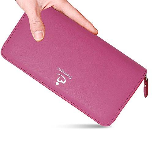 Demupai donna, vera pelle portafoglio Billfold denaro (Orange) Pink