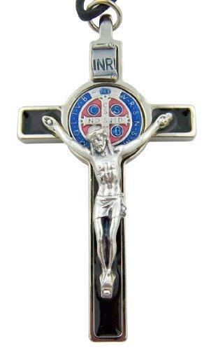 Religious Gifts Schwarz Emaille Kreuz mit Rot und Blau St. Benedikt Medaille Kruzifix auf Kordel