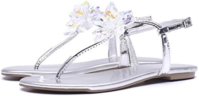 Rhinestones Decorados Elegantes Sandalias de Cuero para Mujer (Color : Plata, Tamaño : 36 2/3 EU)