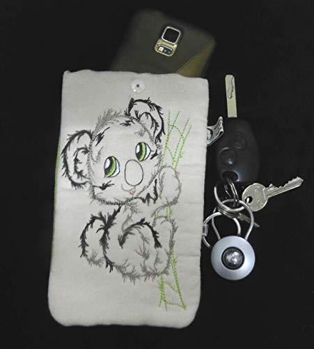 LunaChild Brillenetui Koala Bär apfelgrün von Hand gefertigt creme 18,5 cm x 11 cm Schutzhülle