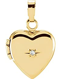14ct Yellow Gold Heart Shaped Locket With Diamond 11.25x1mm