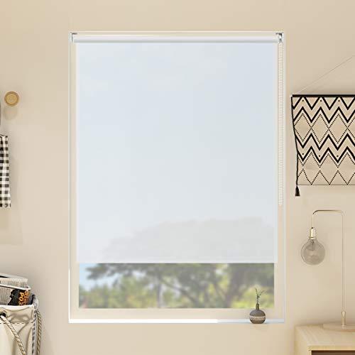 Nisso Estor Enrollable translúcido sin Taladrar para Ventanas y Puertas Blanco 65x170cm (BxH)