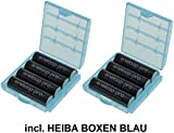 Sanyo eneloop XX HR-3UWXB - AA Batteries (Pack of 8) - 2,550 mAh (Minimum 2,450 mAh) - Powered by eneloop Technology - With 2 Heiba Electronics Storage Boxes