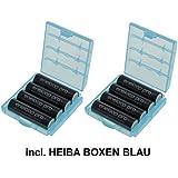 Eneloop XX HR-3UWXB Lot de 8 piles mignon type AA 2550 mAh + 2 boîtiers Heiba