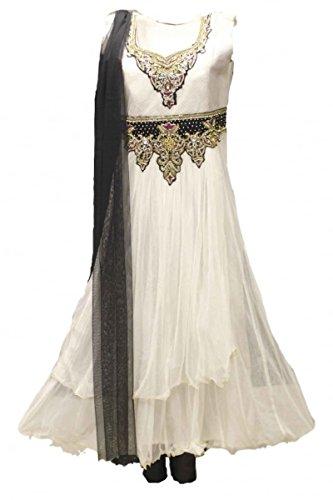 CS2001 Weiß und Schwarz Churidar Anzug Indian Bollywood Churidar Suit Medium (Full Bust Size 40 Inches) (Medium Sleeve Verziert)