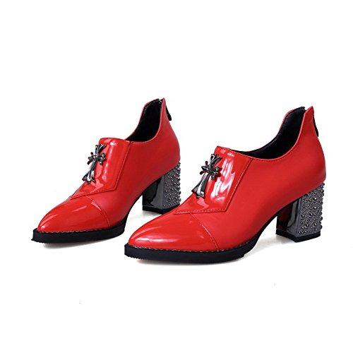 VogueZone009 Damen Reißverschluss Spitz Zehe Mittler Absatz Pu Leder Eingelegt Pumps Schuhe Rot