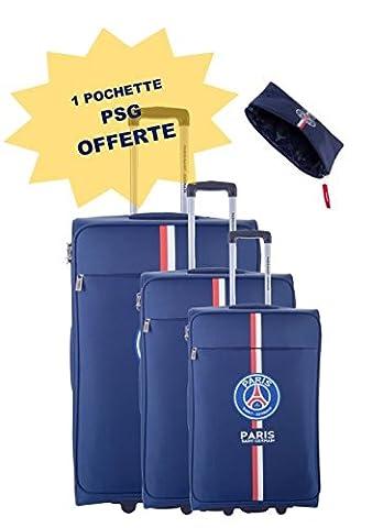 Lot de 3 valises souples PSG trolley 2 roues - Polyester 420D - Taille 50/60/70cm - Bleu - Ref : P6690 + pochette P6691 offerte