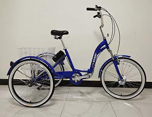 E-Scout Elektro-Dreirad, Klapprahmen, 250 W Motor, Pedalauflage, Alurahmen, Elektro-Dreirad (Blau)