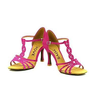 Scarpe da ballo-Personalizzabile-Da donna-Balli latino-americani / Salsa-Tacco su misura-Raso-Nero / Blu / Giallo / Rosa / Viola / Rosso fuchsia