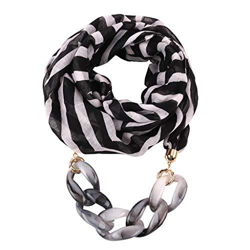 Watopi-Schals Gestreifte Schal Halskette Frauen Boho Strand Schal übertrieben Kette Halskette Schal elegante lässige Wrap weiche Halskette Schal