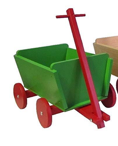 Rudolphs Schatzkiste Wichtelwagen Grün - handlicher Kleiner Wagen aus massivem Buchenholz -...