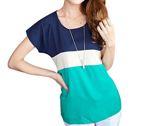 Chemises Femmes Mousseline De Soie Blouse Top Lâche T-Shirt Décontracté À Manches Courtes Vert