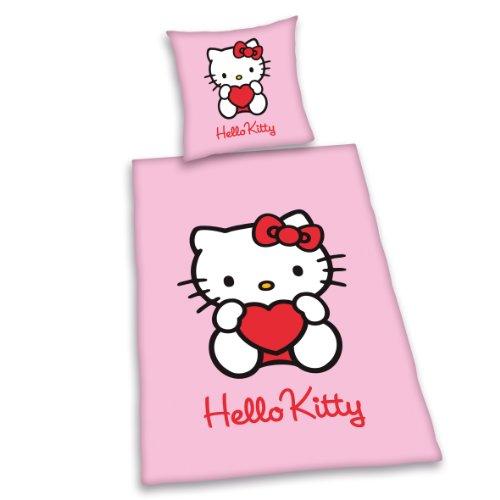 Herding 447128050 Bettwäsche Hello Kitty, Kopfkissenbezug: 80 x 80 cm + Bettbezug: 135 x 200 cm, 100 % Baumwolle, Renforce