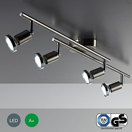 SISTEMA 4 FARETTI SPOT compreso di 4 lampadine LED GU 10 da 3 WATT, 250 Lumen - 3000 K - 230.00 volts [Classe di efficienza energetica A+] Colore Nickel.