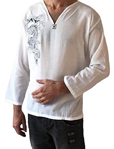 Amor Calidad Hombres Dragón Blanco Camisa para Hombre 100% algodón Hippie Parte Superior - Blanco -
