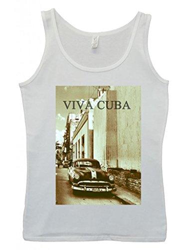 Viva Cuba Classic Car Retro Vintage Cool Funny Hipster Swag White Weiß Damen Women Unterhemd Tank Top Vest-Small (White-tank Vintage)