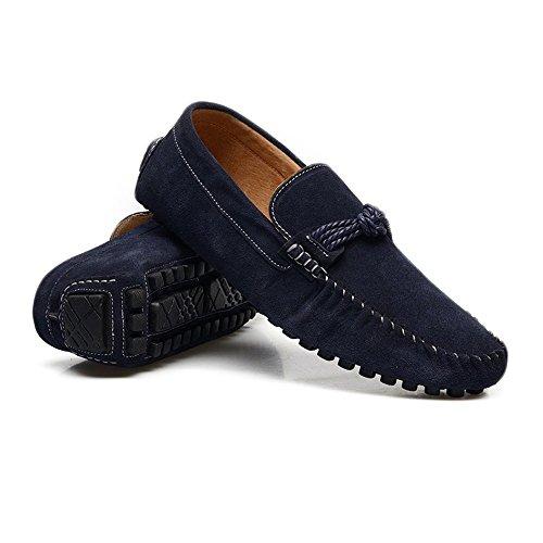 Shufang-shoes, Mokassinschuhe, Herren, 2018, Leichte Mokassins, für Männer, Mokassins, aus Echtem Leder, Marine, 44 EU -