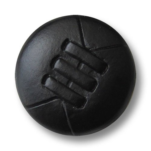 Knopfparadies - 5er Set ausgefallene leicht gewölbte schwarze Ösen Lederknöpfe mit drei Zier-Riegeln / Schwarz / Leder Knöpfe / Ø ca. 26mm - Leder-drei-knopf-blazer