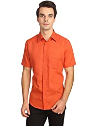 Reevolution Men's Self Design Orange Cotton Linen Shirt (MLHS310320)