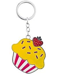 Lux Accessoires Argenté en émail Cupcake et fraise Porte-clés Bijou de Sac