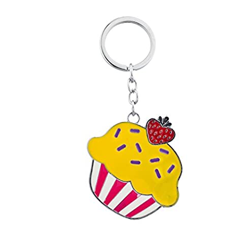 Lux Accessories Silver Tone Enamel Cupcake and Strawberry Keychain Bag