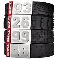 BRAYCE® Motorsport Armband mit Deiner Nummer 00-99 I Reifen Styles Auto, Motorrad & Motocross
