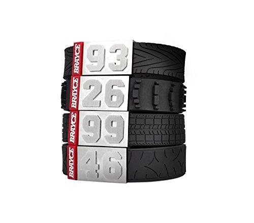 BRAYCE® Motorsport-Armband mit Deiner Nummer 00-99 (Startnummer, Glückszahl) im Reifen-Style (Tyre Tread, Racing Tyre, Motocross, Motobike): Der Schmuck für Moto-GP, Formel1, DTM (unisex)