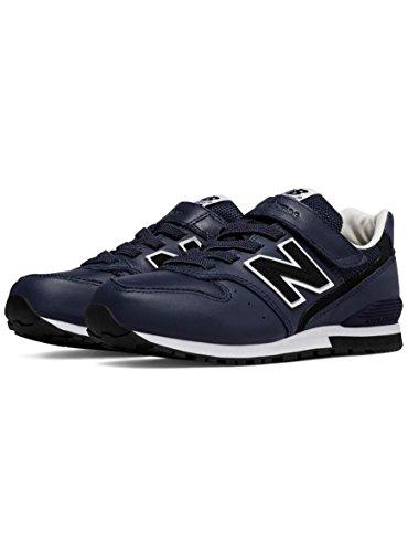 NEW BALANCE - Chaussure de sport bleue, en cuir, avec velcro, lacets élastiques, logo latéral et à l'arrière, coutures visibles et semelle en caoutchouc, garçon, garçons