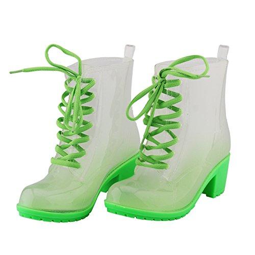 Martin Rohr Mode Gummistiefel Frauen, bonbonfarbenen Gelee Gurt Hochhackige Schuhe rutschfeste Stiefel Green
